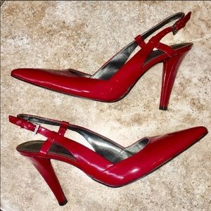 Marc Fisher Red Patent Slingback Pointy Toe Pump 8
